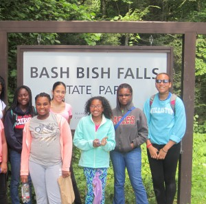 GOAL girls on an overnight trip at Swann Lodge in the Berkshires. Here, they are hiking by Bash Bish Falls.