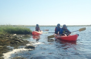 PICTURE 2_YES youth Susan, Jordan and Kyle sea-kayak around Chappaquiddick Island